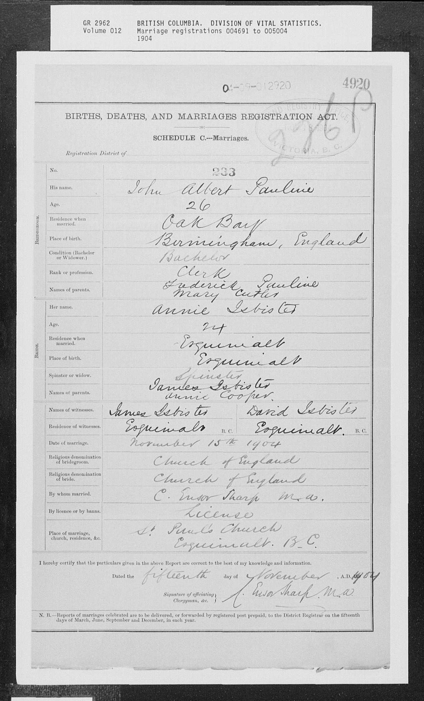 Marriage John Pauline Ann Isbister 1904